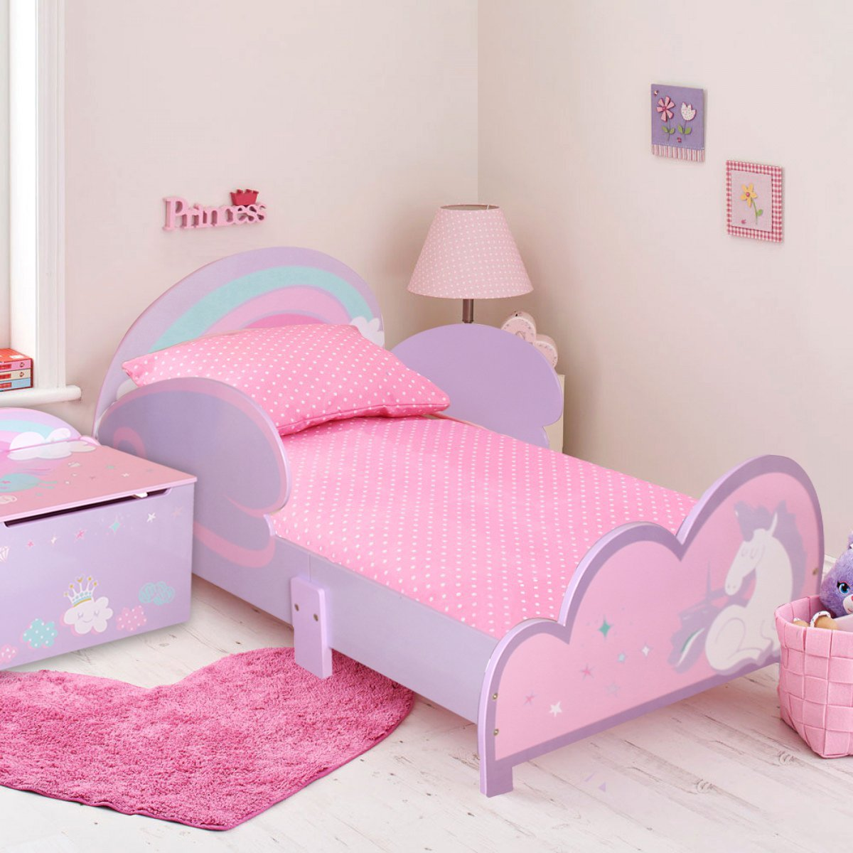 Toddler Bed Set Toy Storage Box Kids Childrens Girls Junior Wooden Unicorn - Pink Purple Signature