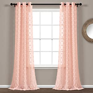 "Lush Decor Blush Textured Dot Grommet Sheer Window Curtain Panel Pair (84"" x 38""), 84"" x 38"
