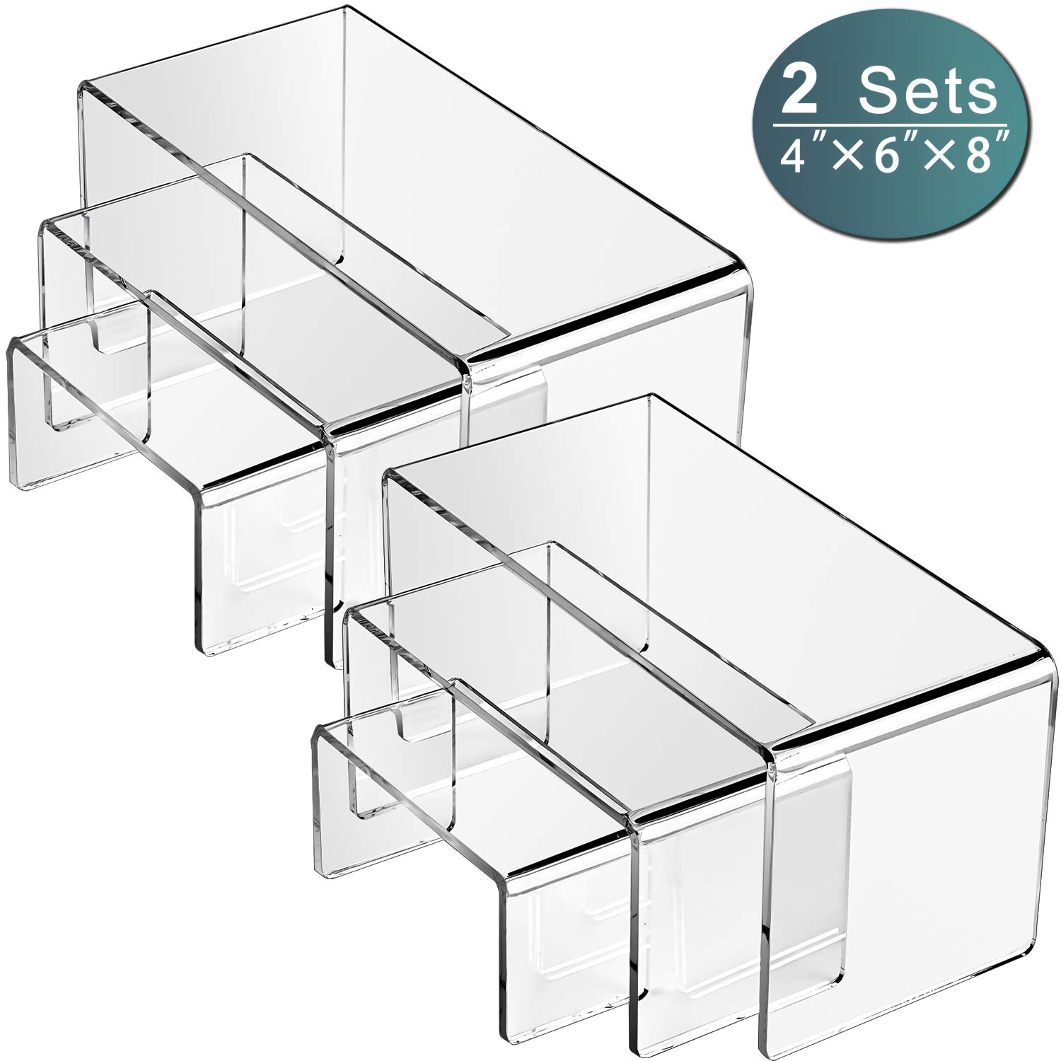 """MaxGear Acrylic Display Risers for Funko Pop Figure, Clear Showcase, Cake Stands for Candy Dessert, Jewelry, Table Decoration Riser-2 Set 8.3""""x6.3""""x4.3"""""""
