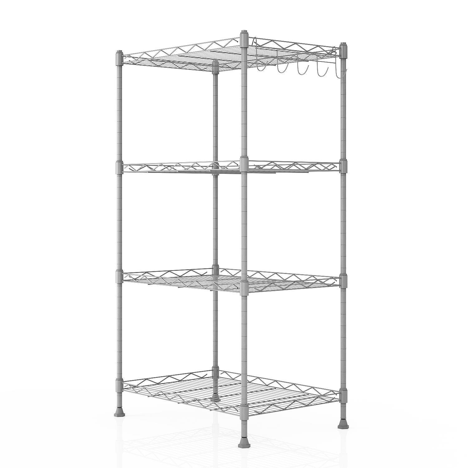Shelving Unit Storage Standing Shelf Units Adjustable 4 Shelves Chrome Iron Wire Cabinets for Kitchen Bathroom Garage Closet Laundry Room (SIL)