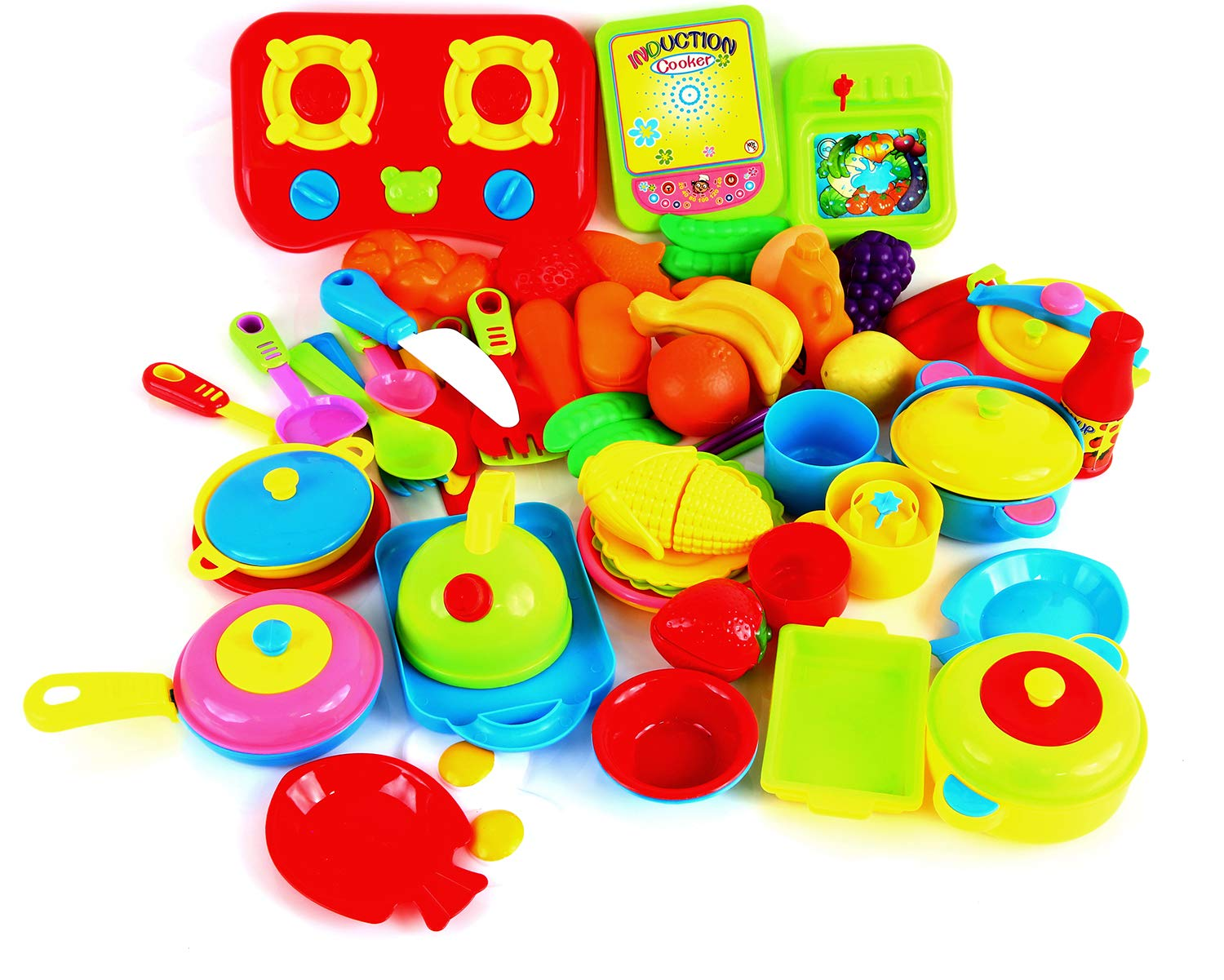 Fstop Labs 60 Packs Play Cookware Set, Kitchen Toys Set for Kids, Pretend Play Cooking Toys Set, Kids Tableware Dishes Playset for Kids Age 3 Years and Up Random Styles