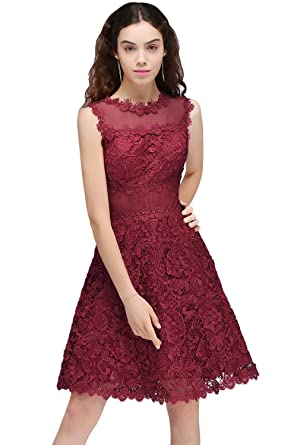 KuDress Burgundy Lace Sleeveless A-Line Ruffled Beautiful Party Prom Dresses (Customizable) (