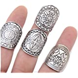 SUNSCSC Silver Plated Pack of 4 Vintage Tribal Indian Mayan Calendar Aztec Band Rings