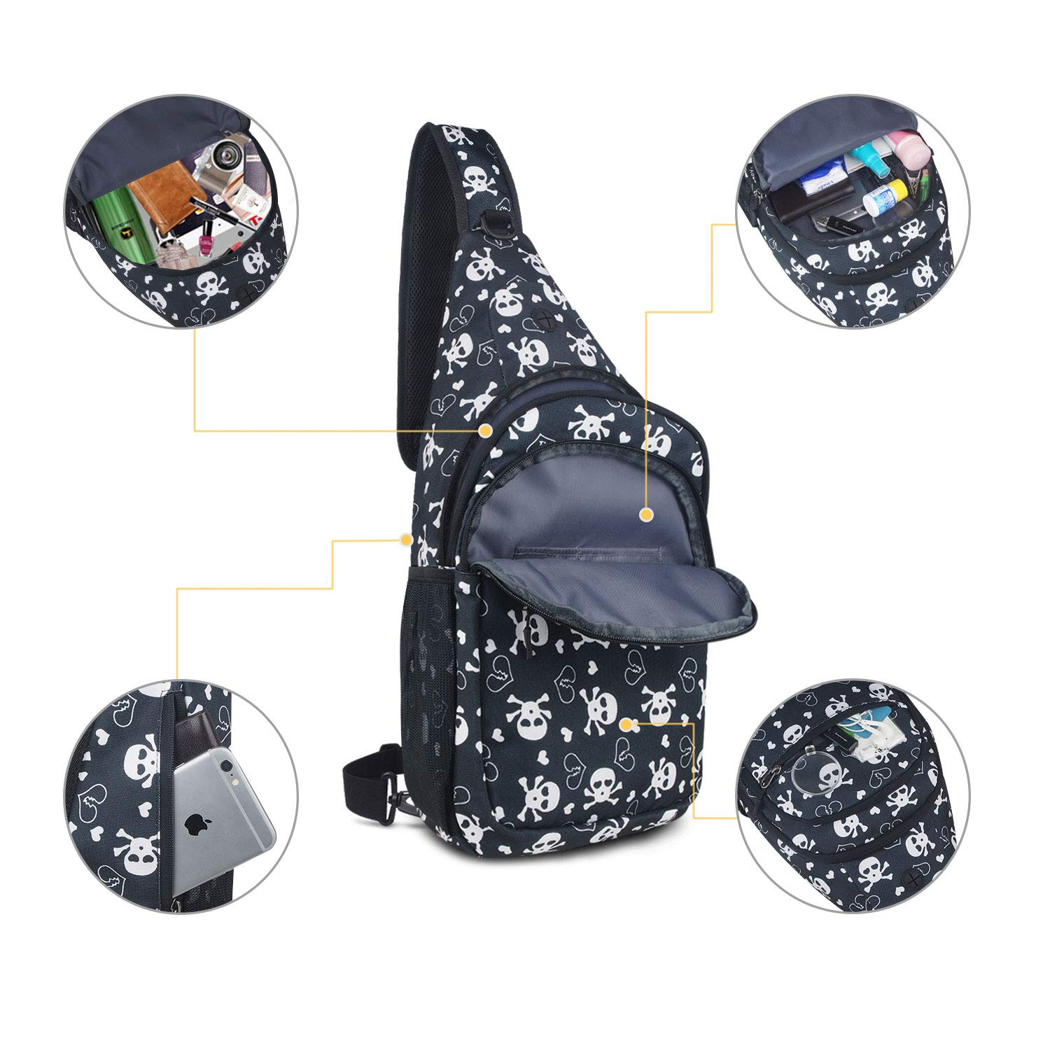 Shoulder Chest Crossbody Bag Small Daypack for Outdoor Hiking Men /& Women ZZSY Sling Backpack