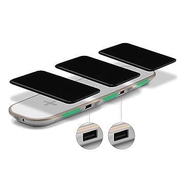UGI Universal 3in1 Cargador de Escritorio de Carga inalámbrico rápido Cargador de Escritorio para iOS Phone X y 8 Plus Samsung S8 Note 8, S7, S7 Edge, ...