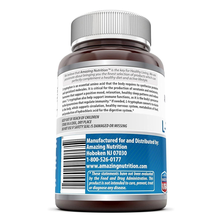 Amazing Formulas L-Tryptophan 500 Mg 60 Capsules: Amazon.es: Salud y cuidado personal