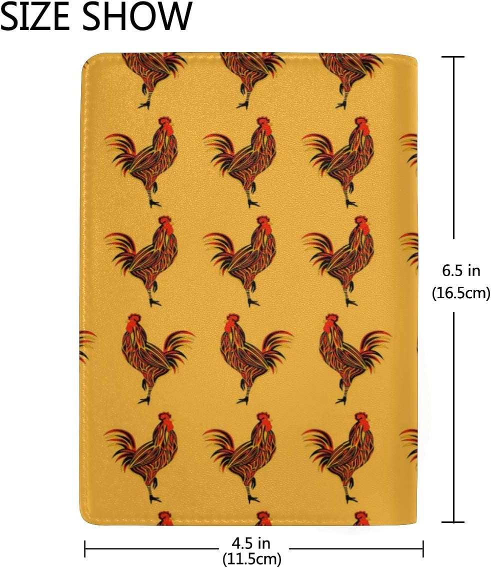 Yellow Rooster Art Sign Leather Passport Holder Cover Case Blocking Travel Wallet