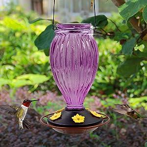 Juegoal Glass Hummingbird Feeders for Outdoors - 37 oz Wild Bird Feeder 5 Feeding Ports, Bud Shaped Metal Handle Hanging for Garden Tree Yard Outside Decoration, Violet