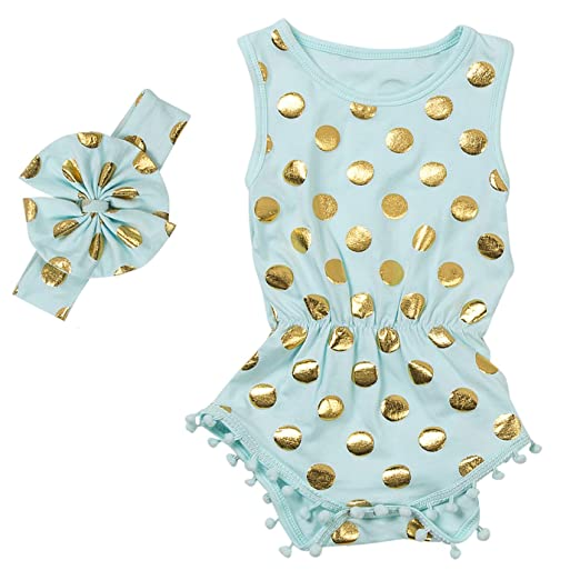 623219c71 Messy Code Baby Romper Onesies Girls Clothes Gold Dot Jumpsuits Headband  Outfit Sleeveless Boutique,Mint