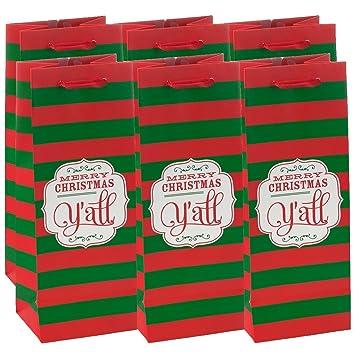 amazon com 6 holiday wine gift bags merry christmas bulk with