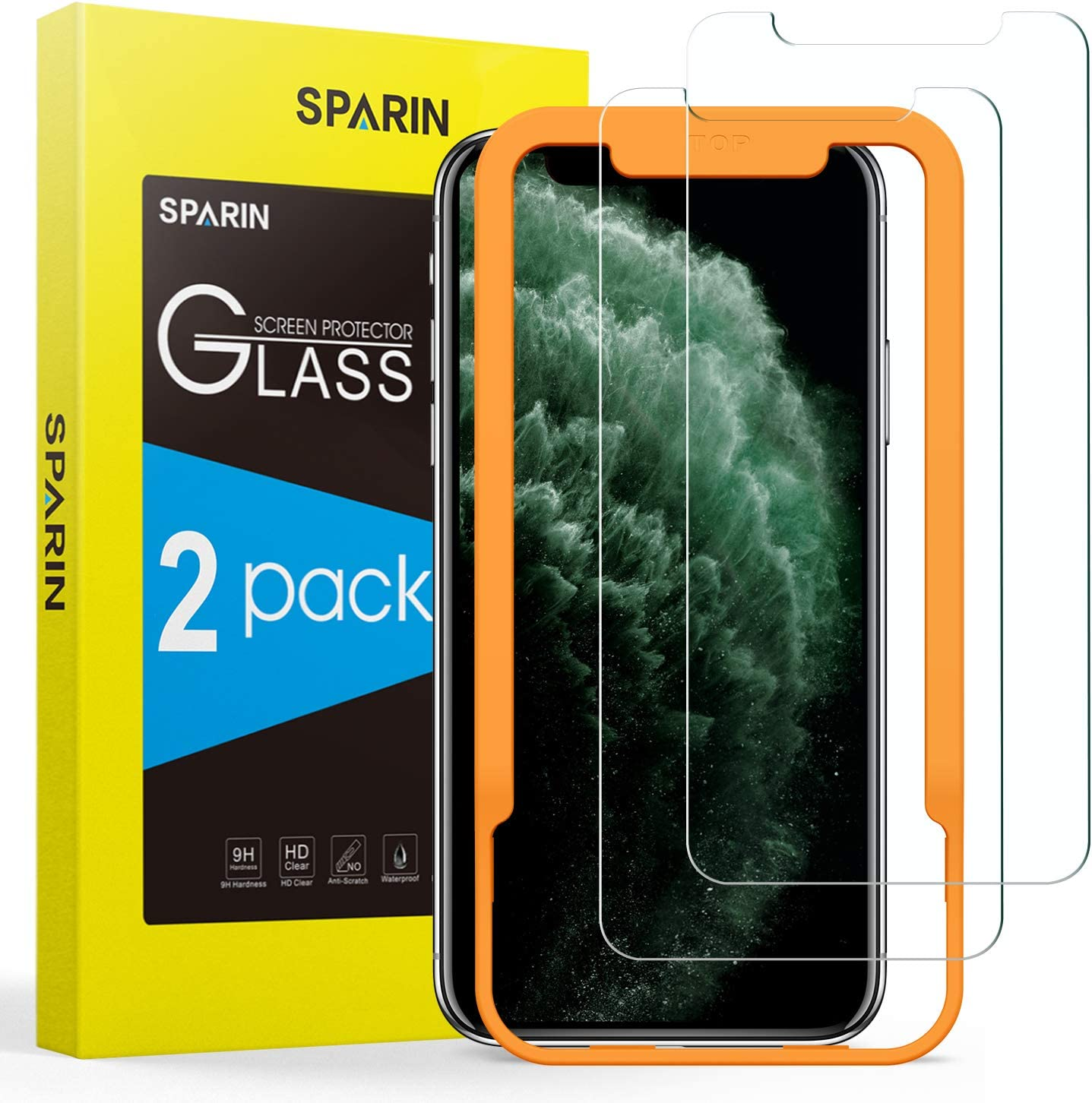 SPARIN [2-Pack] Protector Pantalla iPhone 11 Pro/XS/X, Cristal Templado iPhone 11 Pro/XS/X, Vidrio Templado Protector de Pantalla con [2.5d Borde redondo] [9H Dureza] [Alta Definicion]
