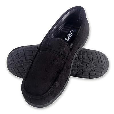 Chaps Men's Slipper House Shoe Moccasin Memory Foam Suede Indoor Outdoor Nonslip Sole Construction | Slippers