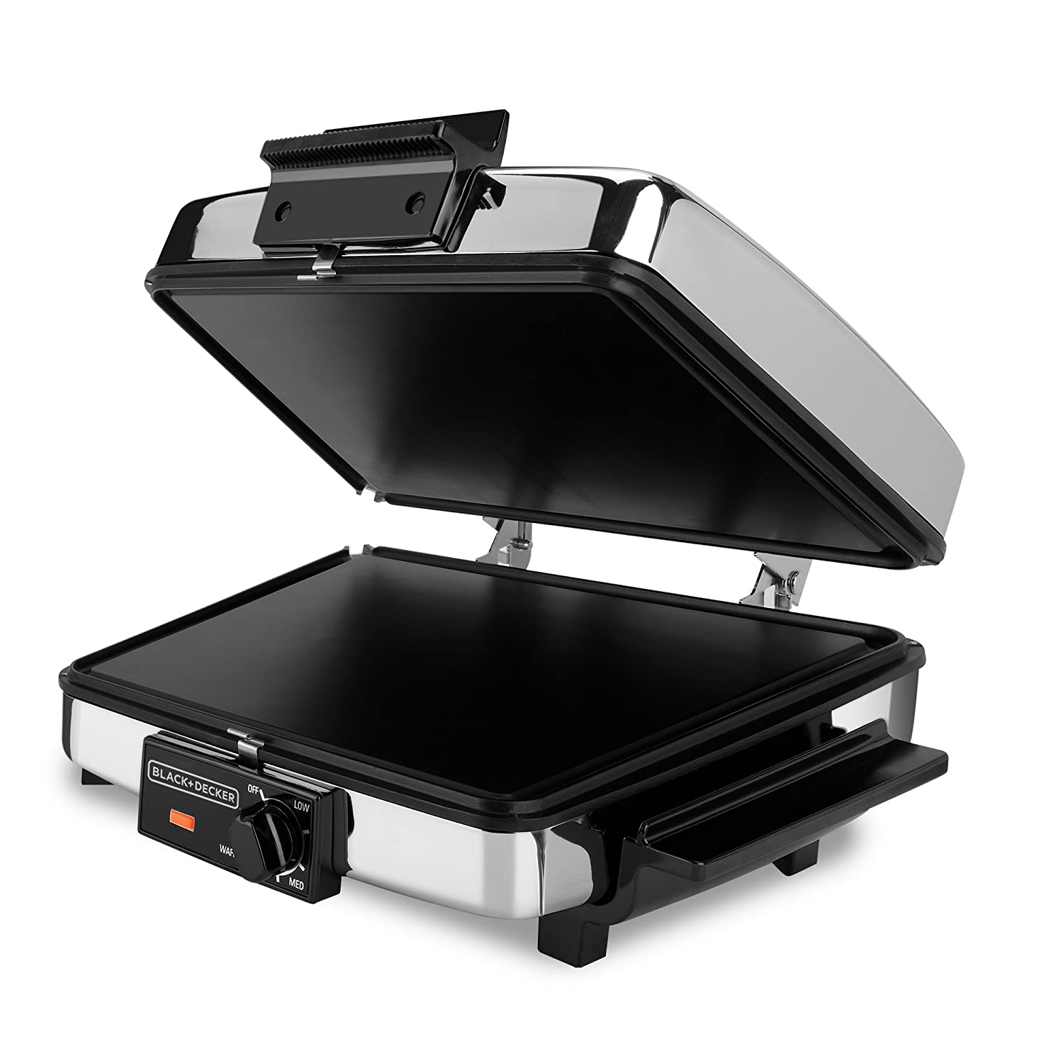 BLACK+DECKER 3-in-1 Waffle Maker with Nonstick Reversible Plates, Stainless Steel, G48TD