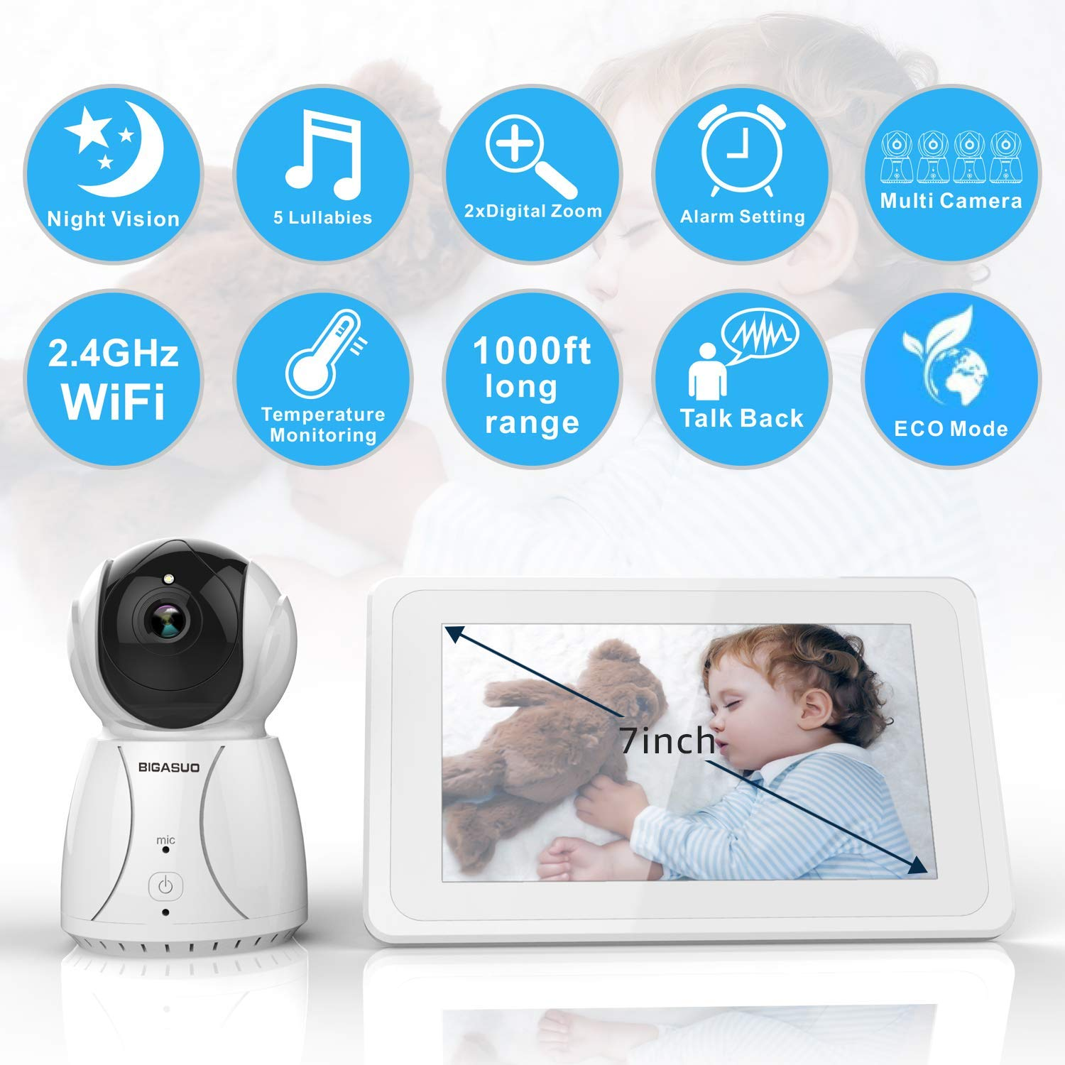 BIGASUO Upgrade Baby Monitor, Video Baby Monitor 7'' Large LCD Screen, Baby Monitors with Camera and Audio Night Vision, Support Multi Camera, Two Way Talk Temperature Sensor, Built-in Lullabies by BIGASUO (Image #2)