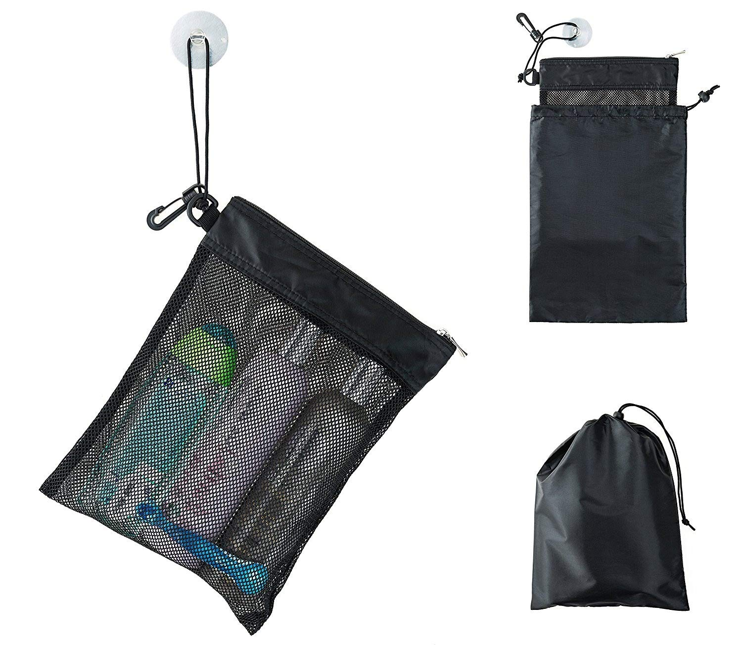 "Shower Bag Tote, Mesh Caddy Toiletry Organizer 12""L x 9""W, Compact and Lightweight With Suction Cup, Cord for Hanging, Zipper and Drawstring Pouch 14""L x 10""W, Black"