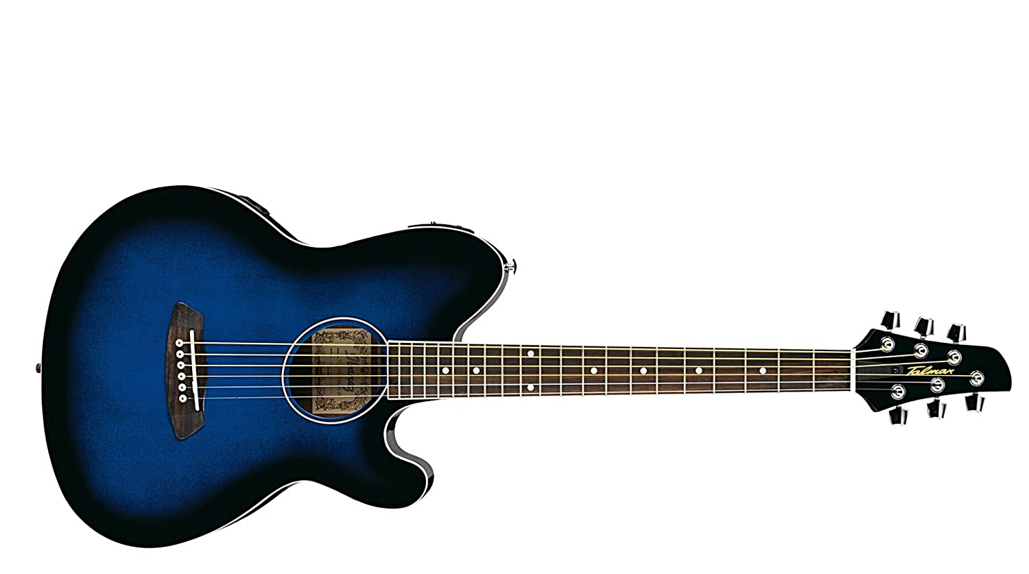 Amazon Ibanez TCY10ETBS Talman Acoustic Electric Guitar With Rosewood Fingerboard Transparent Blue Sunburst Musical Instruments