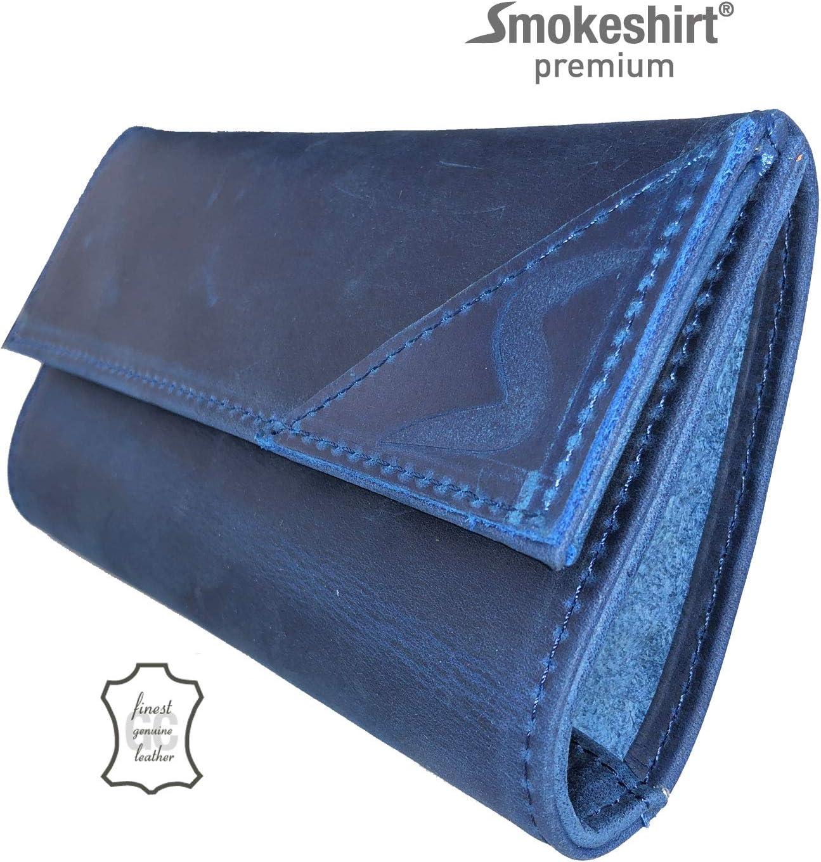 Herren smokeshirt/® Premium Tabaktasche echt Leder Farben und Leder-Design f/ür Damen u Single oder Double-Paper Dreher-Tasche mit Magnetverschluss Tabak-Beutel div