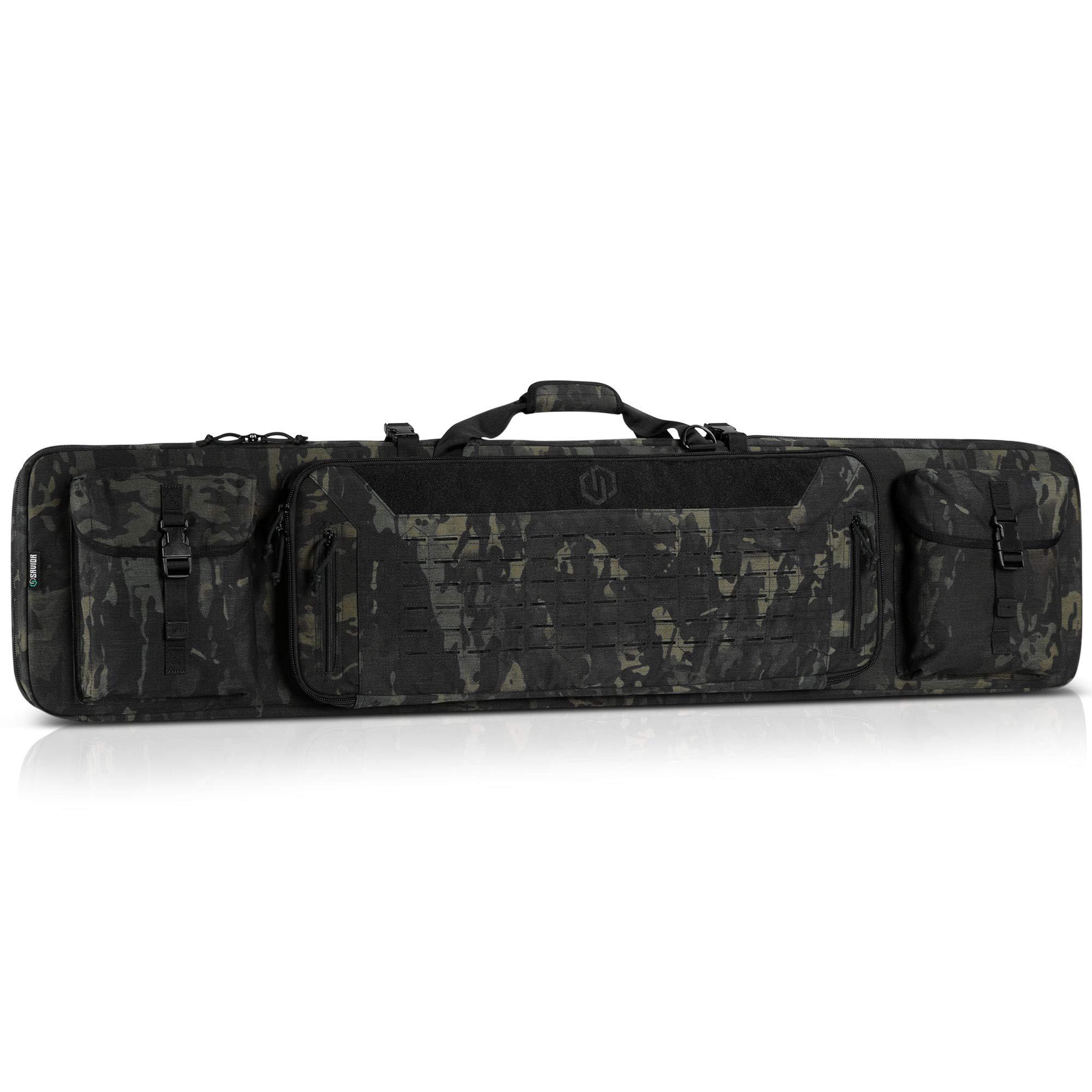 Savior Equipment 55'' Urban Warfare Multicam Black Tactical Double Carbine Long Rifle Bag Firearm Gun Case w/Removable Backpack Strap - 1000D Cordura Nylon Fabric, UTX Buckles, YKK Zippers by Savior Equipment