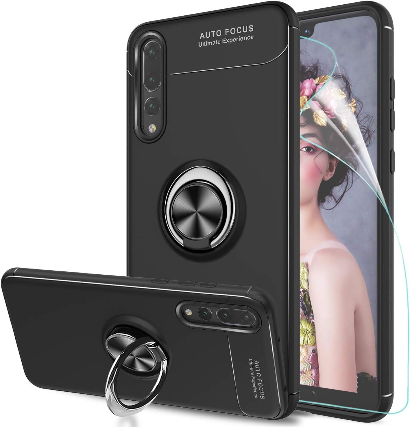 LeYi Funda Huawei P20 Pro con Anillo Soporte, 360 Grados Giratorio Ring Grip con Kickstand Gel TPU de Silicona Bumper Case Carcasa Fundas Huawei P20 Pro con HD Protector de Pantalla, JSZH,Negro: