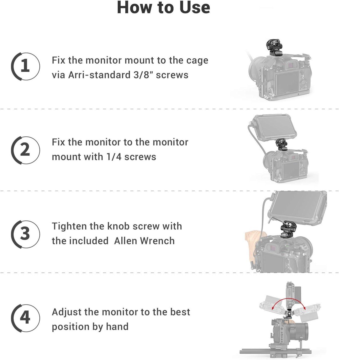 SMALLRIG Monitor Mount Tilt Arm avec Goupilles de Positionnement pour Arri Standard 2348