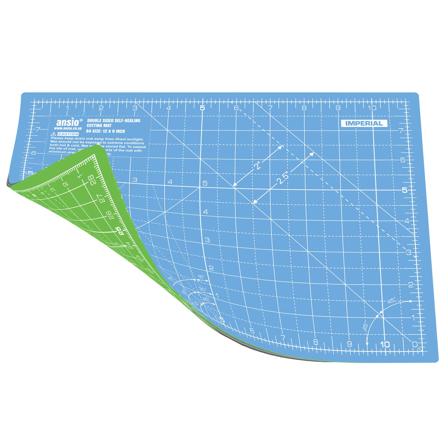 Sky Blue//Lime Green A3 Double Sided Self Healing 5 Layers Cutting Mat Imperial//Metric 17 Inch x 11 Inch 44cm x 29cm