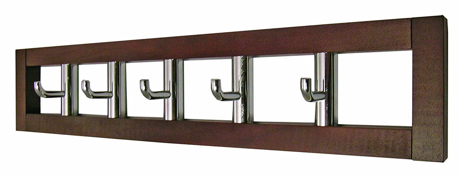 Headbourne Hr7025x 5 Rotating Coat Hooks In Dark Wooden Frame Coat