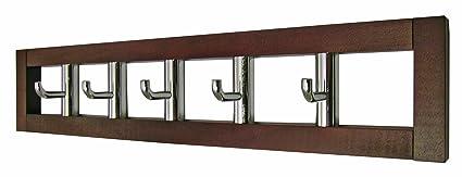 Headbourne Hr7025X - Perchero (5 ganchos giratorios, madera), color marrón oscuro
