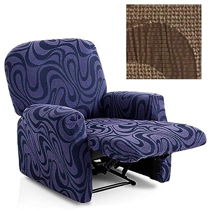 Funda de Sillón Relax Completo Elástica Modelo California, Color Marrón-3, Medida 60-80cm Respaldo
