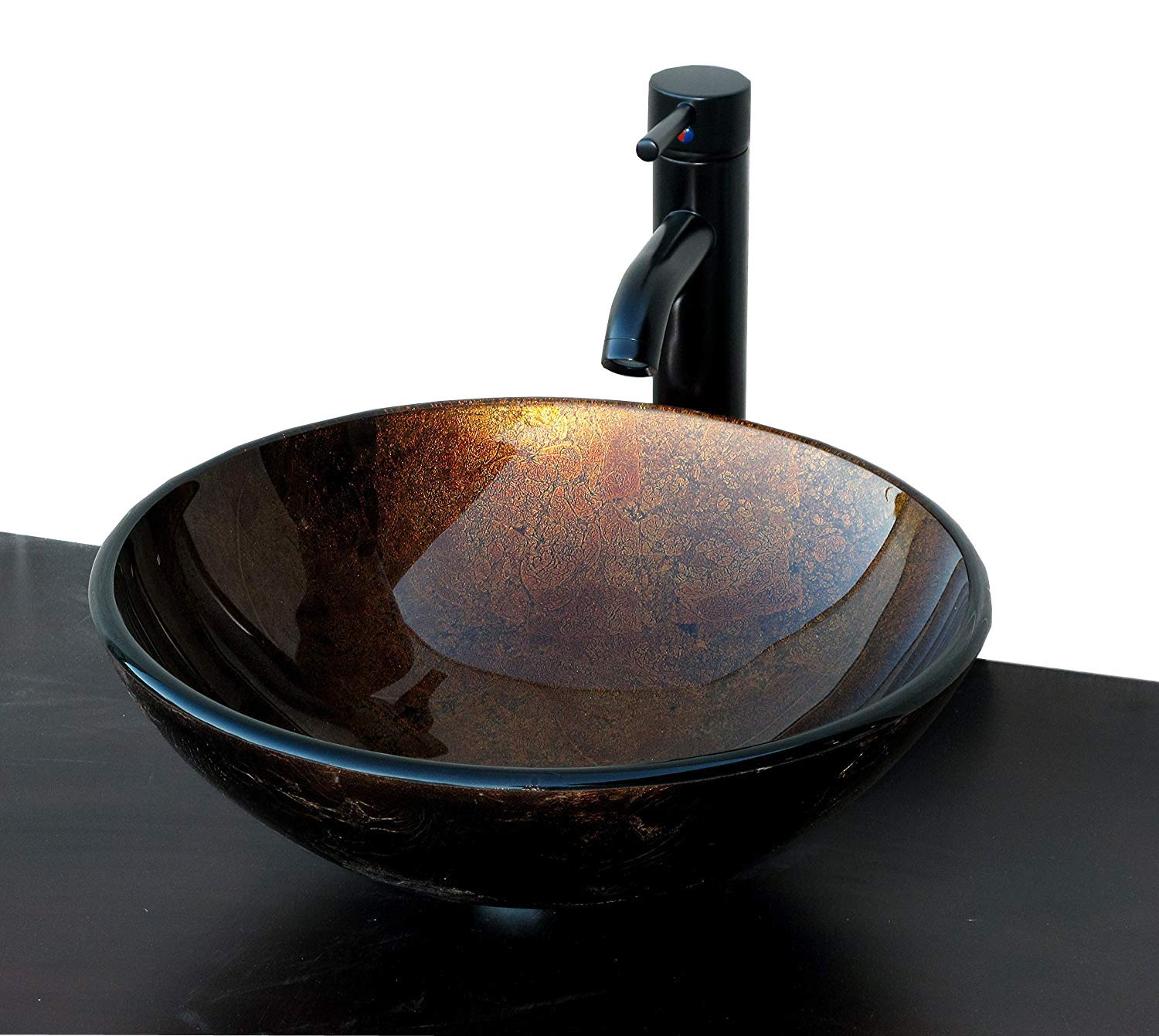 ELIMAX S Ch9052 Artistic Round Combo Glass Vessel Sink with Oil Rubbed Bronze Faucet and op-Up Drain