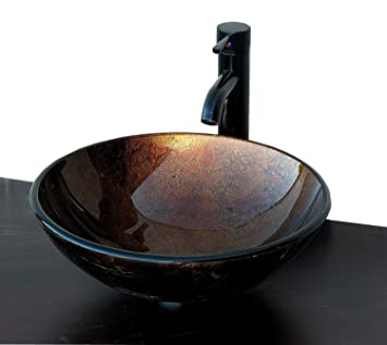 Elimaxs Ch9052 Artistic Round Combo Glass Vessel Sink With Oil