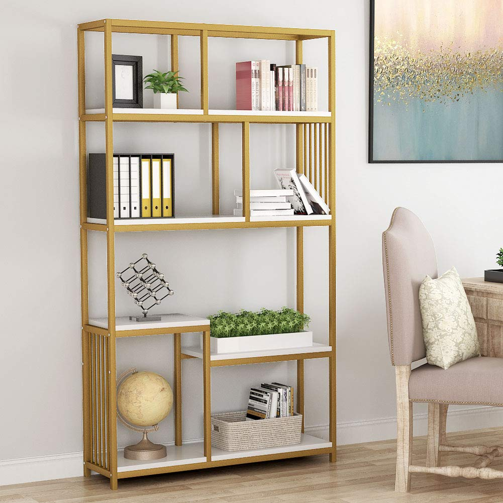 Tribesigns 7-Open Shelf Bookcases, Etagere Bookcase with Gold Sturdy Metal Frame, Modern Bookshelf Elegant Storage Display Shelves for Home Furniture