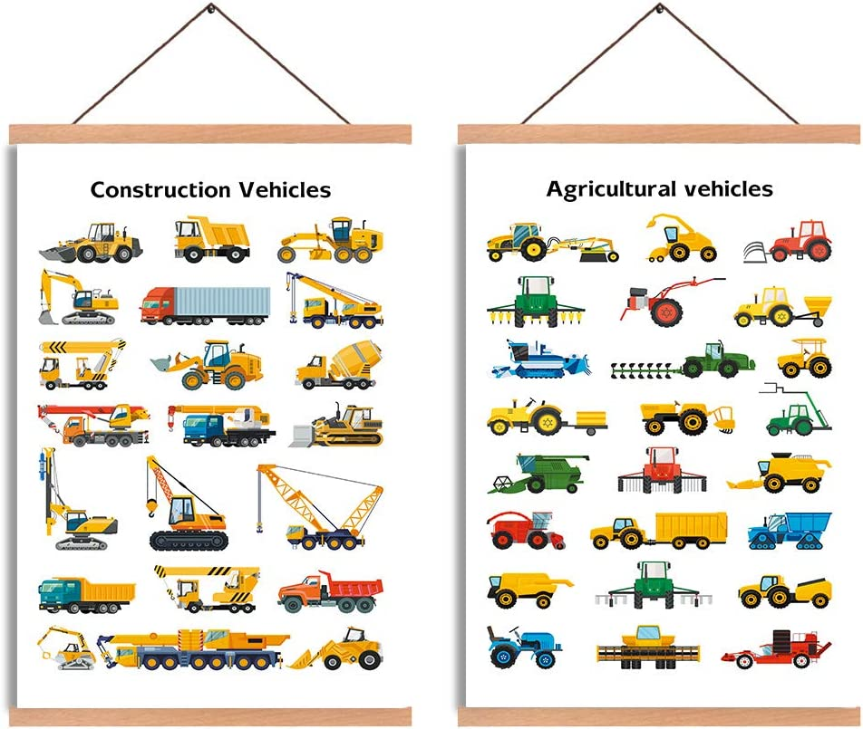 CHDITB Construction Vehicles Theme Art Print,Kids Room Magnetic Natural Wood Hanger Frame Poster,Canvas Painting Typology Truck Excavator 28X45cm Wall Hanging Unique Symbols Transportation For Kids Room Decor