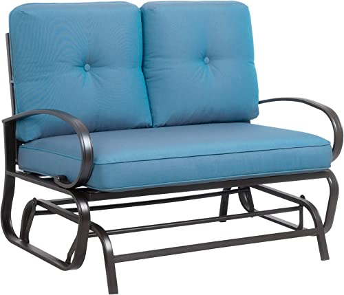 JY QAQA Loveseat Outdoor Patio Glider Rocking Bench,Porch Furniture Glider,Wrought Iron Chair Set with Cushion,Peacock Blue