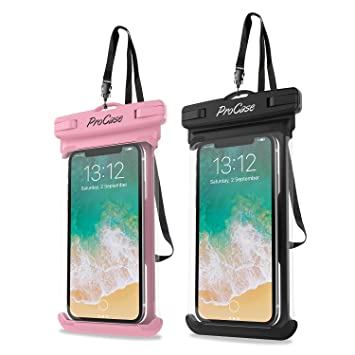 ProCase 2 uds. Funda Estanca Móvil Universal, Bolsa Impermeable IPX8 para iPhone 11 Pro MAX/XS Max/XR/X/8/7, Galaxy Note10+/S10/S10e/S9+, Huawei ...