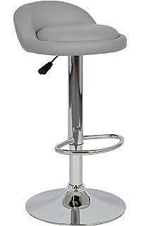 Ts Ideen 1 X Barhocker Barstuhl Barsessel In Grau Mit Chrom Und Fußablage