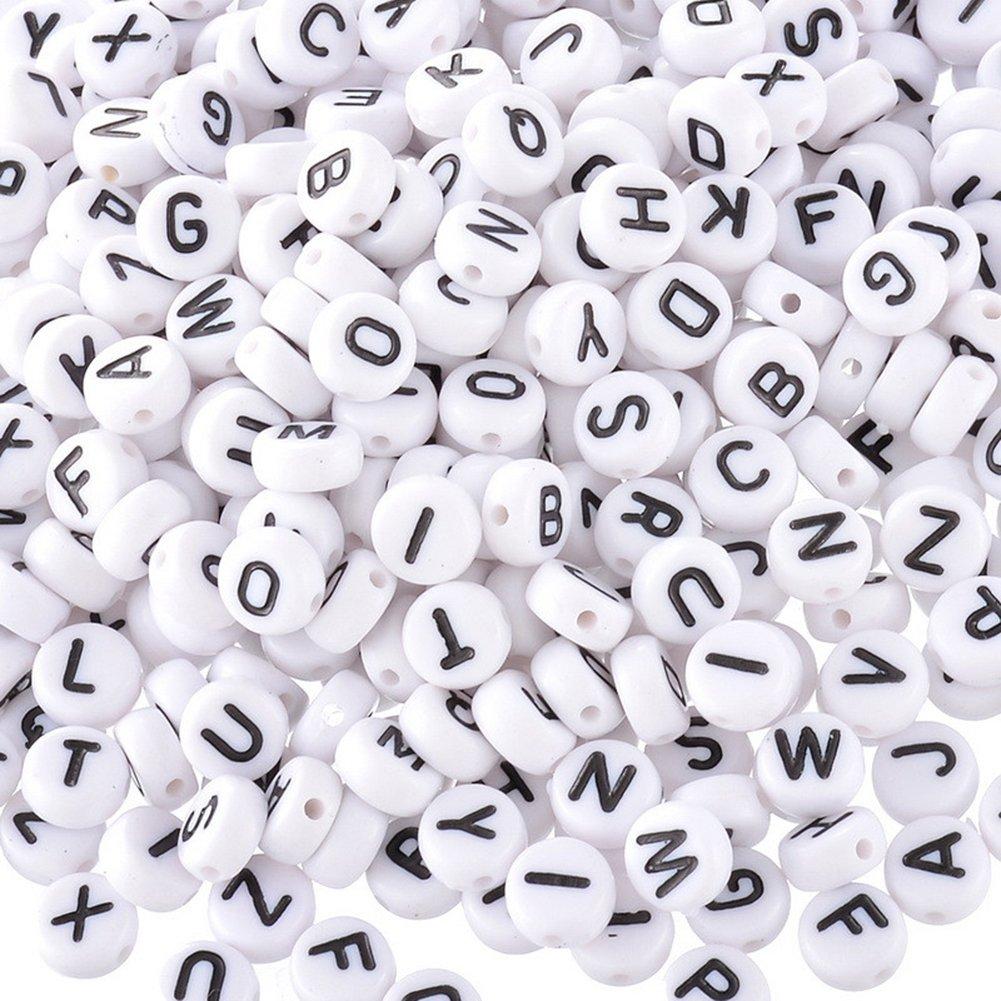 Cuentas espaciadoras Redondas para Letras del Alfabeto Lumanuby 200 Unidades, 7 mm Color Blanco