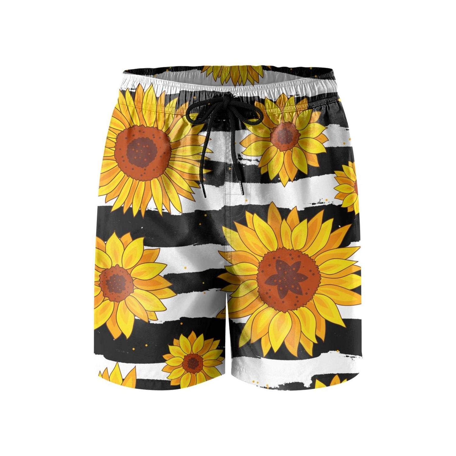 TopCrazy Sunflowers Striped Black and White Board Shorts for Men Summer Fashion Swim Trunks