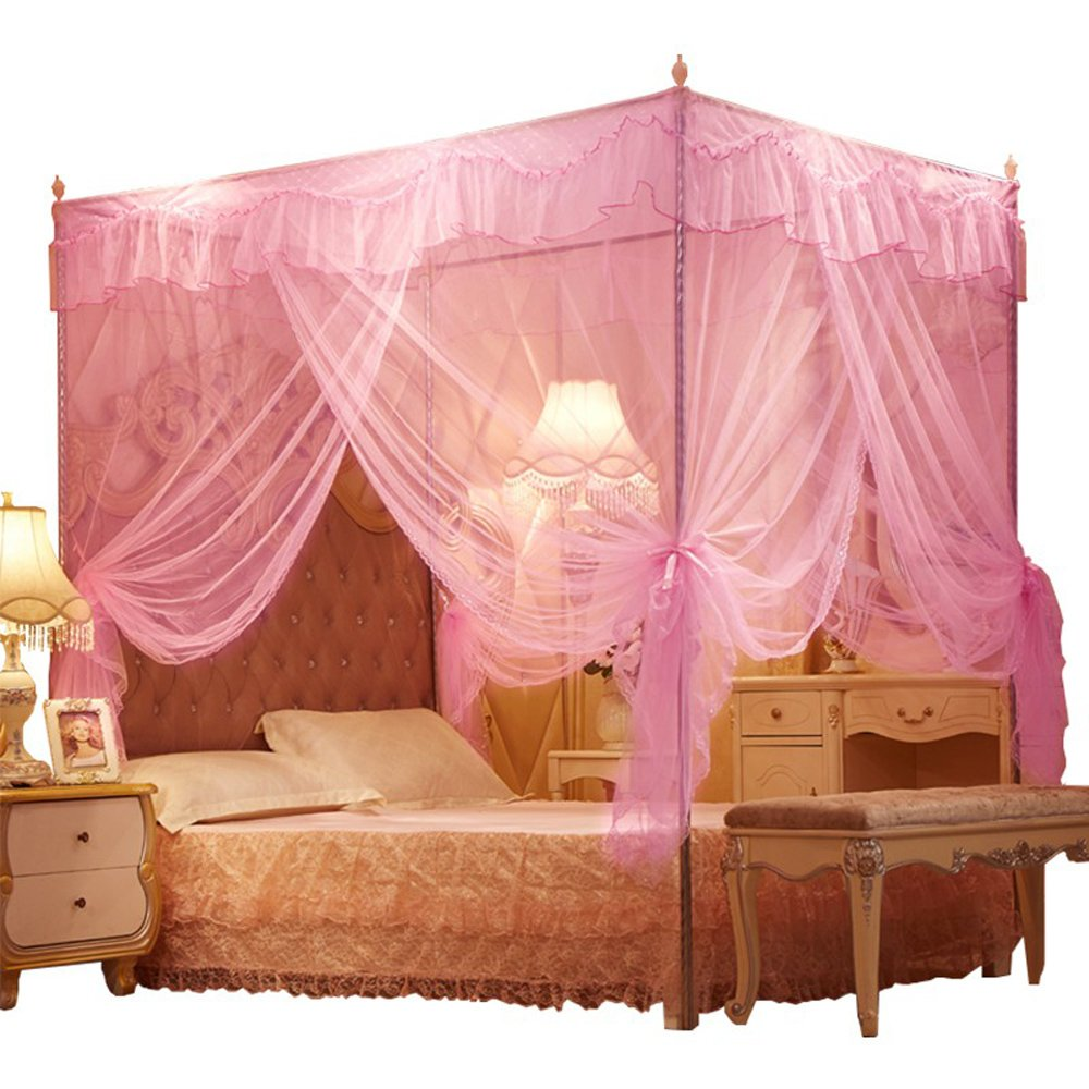 Nattey 4 Corners Lace Bedding Curtain Canopy Mosquito Netting Canopies (Twin, Pink)