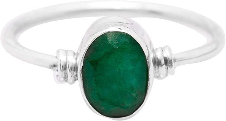 Brightt Green Emerald Eternity Band .925 Sterling Silver Ring Sizes 4-10