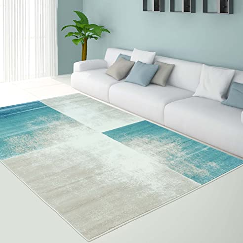 teppich modern designer wohnzimmer pastell inspiration grand rechteck trkis neu gre in cm200 - Wohnzimmer Teppich Turkis