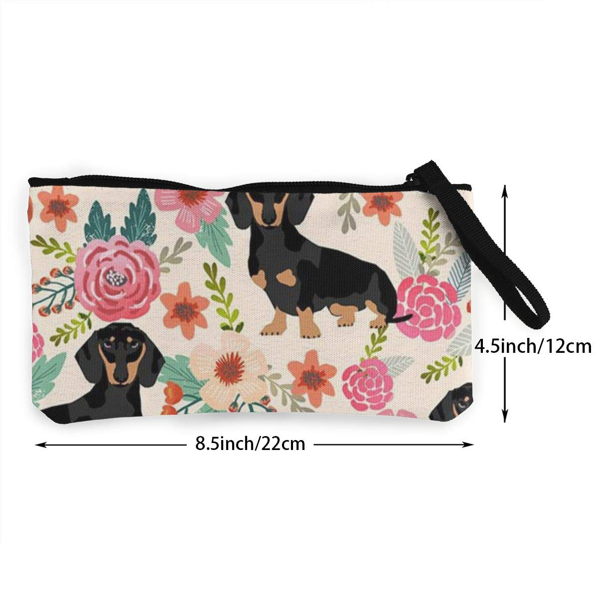 YUANSHAN Black Dogs Unisex Canvas Coin Purse Change Cash Bag Zipper Small Purse Wallets with Handle