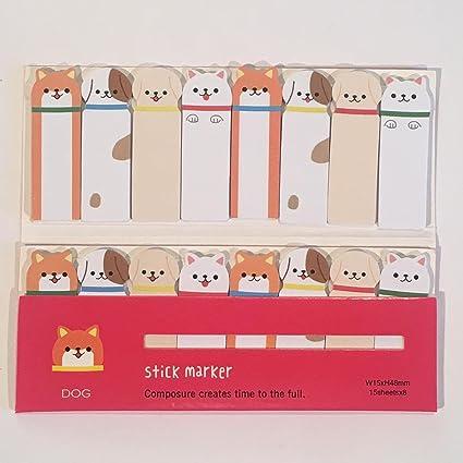 con mensaje corto o recordatorios Chytaii dise/ño de gato Adhesivo para notas de notas con pesta/ñas de /índice de notas