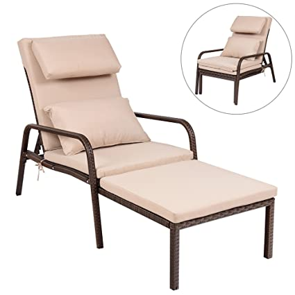 Exceptionnel Outdoor Patio Chaise Lounge Chair   Outside Furniture Garden Recliner  Sunbathing Tanning Reading Bed W/