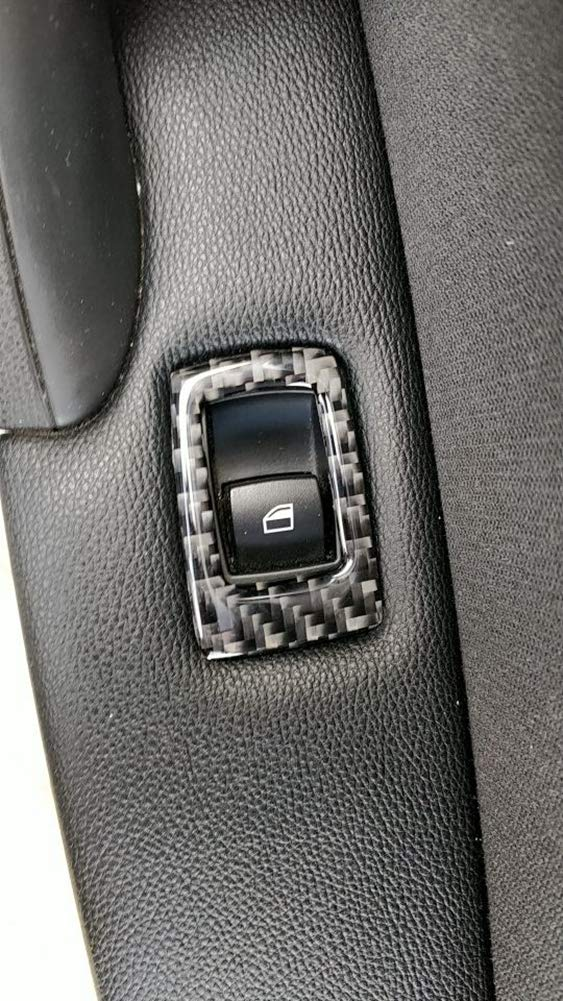 Carbon Fiber Car Window Lifter Switch Button Frame Decorative Cover Trim for BMW 3 series E90 2005-2012 LHD Left Hand Drive 35.8 with Mirror Hold Button