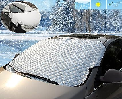 meccion coche parabrisas cubierta de nieve y de sol sombra ...