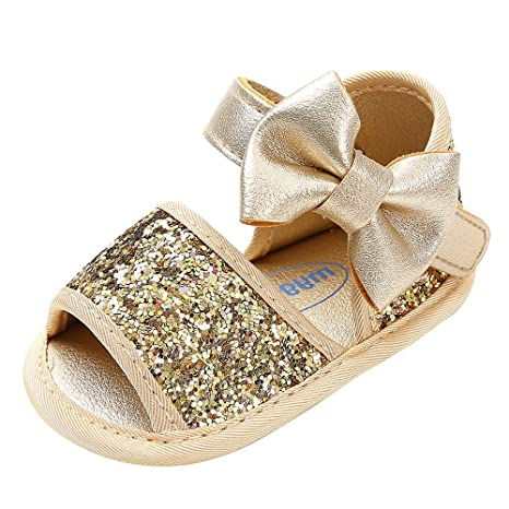 c7c09f33267f4 Amazon.com: Cloudro Baby Girl Shoes Sequins Bowknot Sandals First ...
