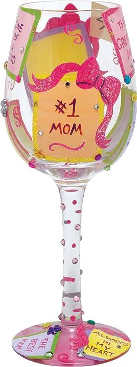 Lolita HOT MAMA CLAUS 15oz Wine Glass Christmas Hand Painted MIB GLS11-5565M