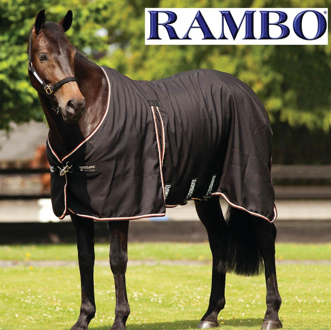 165 cm Rambo Optimo Stable Sheet Black Tan orange 87 7ft 3