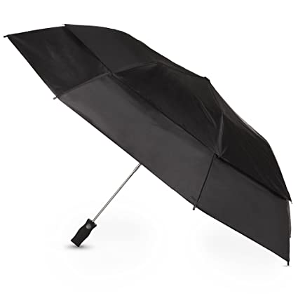011601319170 Totesport Golf Sized Vented Canopy Automatic Compact Umbrella, Black, One  Size