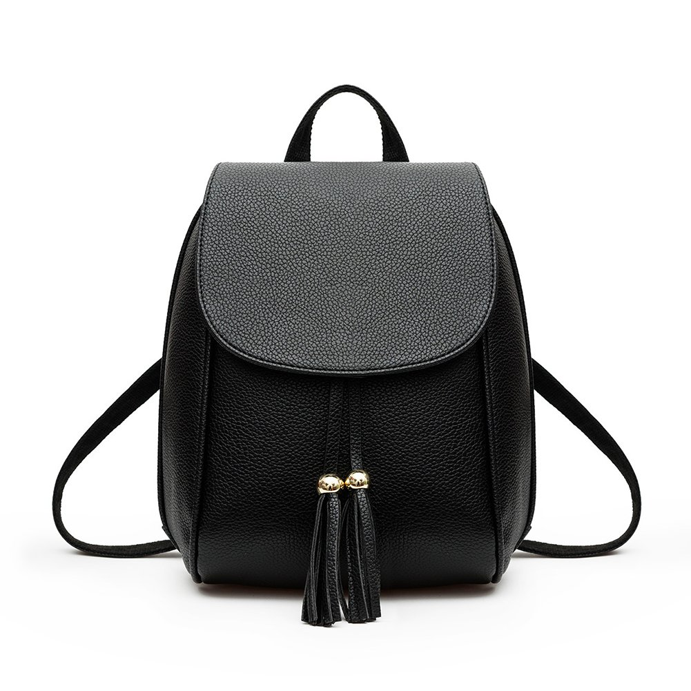 ShiningLove Women Fashion Casual Backpack Solid Color Shoulder Bag with Tassel Pendant PU Schoolbag Daypacks Black